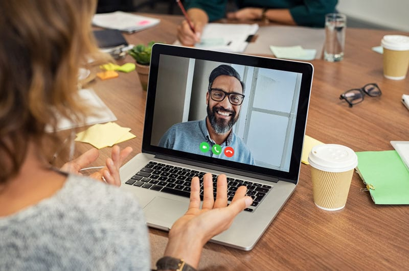woman having a video conference